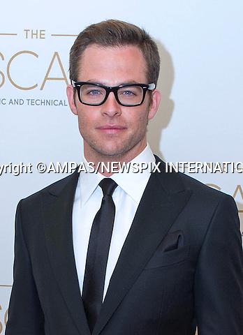 CHRIS PINE.attends the Academy of Motion Picture Arts and Sciences' Scientific and Technical Achievement Awards at the Beverly Hills Hotel, Beverly Hills, California_9/02/2013.MANDATORY PHOTO CREDIT: ©Decker/NEWSPIX INTERNATIONAL . .(Failure to by-line the photograph will result in an additional 100% reproduction fee surcharge. You must agree not to alter the images or change their original content)..            *** ALL FEES PAYABLE TO: NEWSPIX INTERNATIONAL ***..IMMEDIATE CONFIRMATION OF USAGE REQUIRED:Tel:+441279 324672..Newspix International, 31 Chinnery Hill, Bishop's Stortford, ENGLAND CM23 3PS.Tel: +441279 324672.Fax: +441279 656877.Mobile: +447775681153.e-mail: info@newspixinternational.co.uk