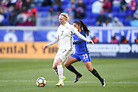 Harrison, NJ - Saturday, March 04, 2017: Pauline Bremer, Sakina Karchaoui prior to a SheBelieves Cup match between the women's national teams of France (FRA) and Germany (GER) at Red Bull Arena.