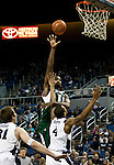 January 14, 2012:   Hawai'i Rainbow Warriors center Vander Joaquim shoots over Nevada Wolf Pack forward Devonte Elliott during their NCAA basketball game played at Lawlor Events Center on Saturday night in Reno, Nevada.