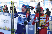 1st January 2020, Toblach, South Tyrol , Italy;  Iivo Niskanen of Finland and Sergey Ustiugov of Russia at the finish of the mens cross country skiing 15 km classic style pursuit at the FIS Tour de Ski event in Toblach, Italy on January 1, 2020.