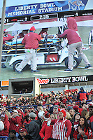 NWA Democrat-Gazette/MICHAEL WOODS • @NWAMICHAELW<br /> University of Arkansas fans watch as Razorback receiver Dominique Reed (87) is taken off the field in the 2nd quarter of the Razorbacks 45-23 win over Kansas State in the 57th annual AutoZone Liberty Bowl January 2, 2016.