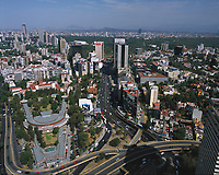aerial photograph of the National Conservatory of Music (Conservatorio Nacional de Musica) and the Periferico, which divides the Polanco district from Lomas de Chapultepec, Mexico City