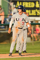 Tyler Naquin #33 (Texas A&M) of the USA Baseball Collegiate National Team takes his lead off of third base against the Gastonia Grizzlies at Sims Legion Park on June 30, 2011 in Gastonia, North Carolina.  Team USA defeated the Grizzlies 12-5.  Brian Westerholt / Four Seam Images