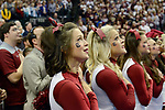 DALLAS, TX - MARCH 31: South Carolina cheerleaders stand during the National Anthem before South Carolina takes on Mississippi State during the 2017 Women's Final Four at American Airlines Center on April 2, 2017 in Dallas, Texas. (Photo by Evert Nelson/NCAA Photos via Getty Images)