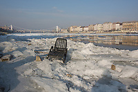 A plastic chair is seen on the ice on river Danube in Budapest, Hungary on January 10, 2017. ATTILA VOLGYI