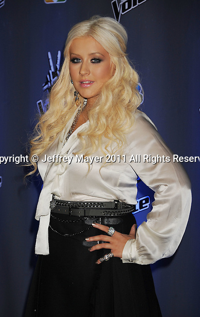 """CULVER CITY, CA - OCTOBER 28: Christina Aguilera at the """"The Voice"""" Press Junket at Sony Pictures Studios on October 28, 2011 in Culver City, California."""