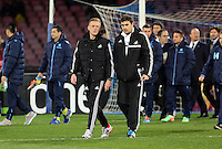 Thursday 27 February 2014<br /> Pictured L-R: Swansea manager Garry Monk and assistant Pep. <br /> Re: UEFA Europa League, SSC Napoli v Swansea City FC at Stadio San Paolo, Naples, Italy.