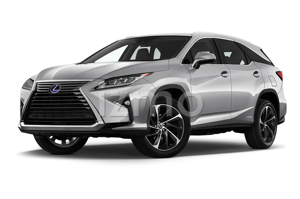 Stock pictures of low aggressive front three quarter view of 2019 Lexus RX Privilege-Line 5 Door SUV Low Aggressive