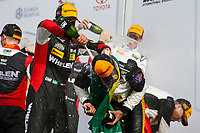 IMSA WeatherTech SportsCar Championship<br /> Rolex 24 Hours<br /> Daytona Beach, Florida, USA<br /> Sunday 28 January 2018<br /> Prototype Podium Celebration, Champagne <br /> World Copyright: Jake Galstad<br /> LAT Images<br /> <br /> ref: Digital Image galstad-DIS-ROLEX-0118-309700