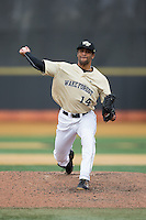 Wake Forest Demon Deacons relief pitcher Donnie Sellers (14) in action against the Harvard Crimson at David F. Couch Ballpark on March 5, 2016 in Winston-Salem, North Carolina.  The Crimson defeated the Demon Deacons 6-3.  (Brian Westerholt/Four Seam Images)