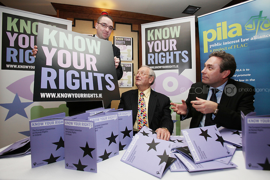 NO REPRO FEE. 23/11/2010. ICCL BOOK LAUNCH. Pictured at Buswells Hotel, Dublin at the launch of the ICCL's latest Know your Rights publication on the European Convention of Human Rights were Larry Donnelly manager PILA, Guest Lawyer Lord Anthony Lester and ICCL director Mark Kelly. Picture James Horan/Collins Photos