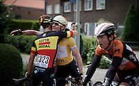 German National Champion André Greipel (DEU/Lotto-Soudal) wins the overall and is congratulated behind the finish line by teammate & Belgian Champion Jens Debusschere (BEL/Lotto-Soudal)<br /> <br /> stage 5: Eindhoven - Boxtel (183km)<br /> 29th Ster ZLM Tour 2015