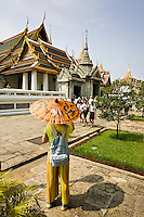 Tourists visit the Amarin Winitchai Throne Hall, Bangkok, Thailand