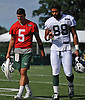 Christian Hackenberg #5, New York Jets quarterback, left, and tight end #88 Austin Seferian-Jenkins head off the field after the first team practice of training camp at the Atlantic Health Jets Training Center in Florham Park, NJ on Saturday, July 29, 2017.