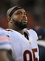 CLEVELAND, OH - SEPTEMBER 1, 2016: Defensive lineman Ego Ferguson #95 of the Chicago Bears watches the action from the sideline in the fourth quarter of a game on September 1, 2016 against the Cleveland Browns at FirstEnergy Stadium in Cleveland, Ohio. Chicago won 21-7. (Photo by: 2016 Nick Cammett/Diamond Images)  *** Local Caption ***Ego Ferguson