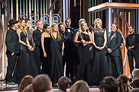 Accepting the Golden Globe for Best Television Limited Series or Motion Picture Made for Television for &quot;Big Little Lies&quot; (HBO) are Nathan Ross, Laura Dern, Shailene Woodley, Jean-Marc Vall&eacute;e, Zoe Kravitz, Bruna Papandrea, Per Saari, Alexander Skarsg&aring;rd, Reese Witherspoon, David E. Kelley, Nicole Kidman, and Gregg Fienberg at the 75th Annual Golden Globe Awards at the Beverly Hilton in Beverly Hills, CA on Sunday, January 7, 2018.<br /> *Editorial Use Only*<br /> CAP/PLF/HFPA<br /> &copy;HFPA/PLF/Capital Pictures