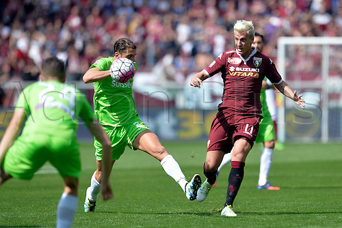 10.04.2016. Stadio Olimpico di Torino, Turin, Italy. Serie A Football. Torino versus Atalanta. Maxi Lopez plays the ball