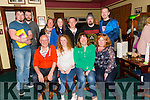 winning team Front l-r John Keating, Saibh Keating,Lynn Sugrue and Trese Keating.Runners up Back l-r Anglo Leen,Matthew Leen, Roy Brosnan and David Counihan with Amy's family Sharon O'Connor,Amy O'Connor,John O'Connell,  at the Fundraising Quiz night in aid of Amy at the Na Gaeil Clubhouse on Thursday
