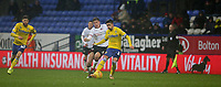 Leeds United's Pablo Hernandez shields the ball from Bolton Wanderers' Josh Vela<br /> <br /> Photographer Stephen White/CameraSport<br /> <br /> The EFL Sky Bet Championship - Bolton Wanderers v Leeds United - Saturday 15th December 2018 - University of Bolton Stadium - Bolton<br /> <br /> World Copyright &copy; 2018 CameraSport. All rights reserved. 43 Linden Ave. Countesthorpe. Leicester. England. LE8 5PG - Tel: +44 (0) 116 277 4147 - admin@camerasport.com - www.camerasport.com