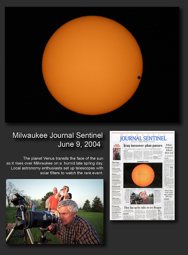 Using a telescope with a special solar filter, I photographed the rare transit of Venus across the sun. I also photographed and interviewed those who gathered to watch the spectacle for the Milwaukee Journal Sentinel.
