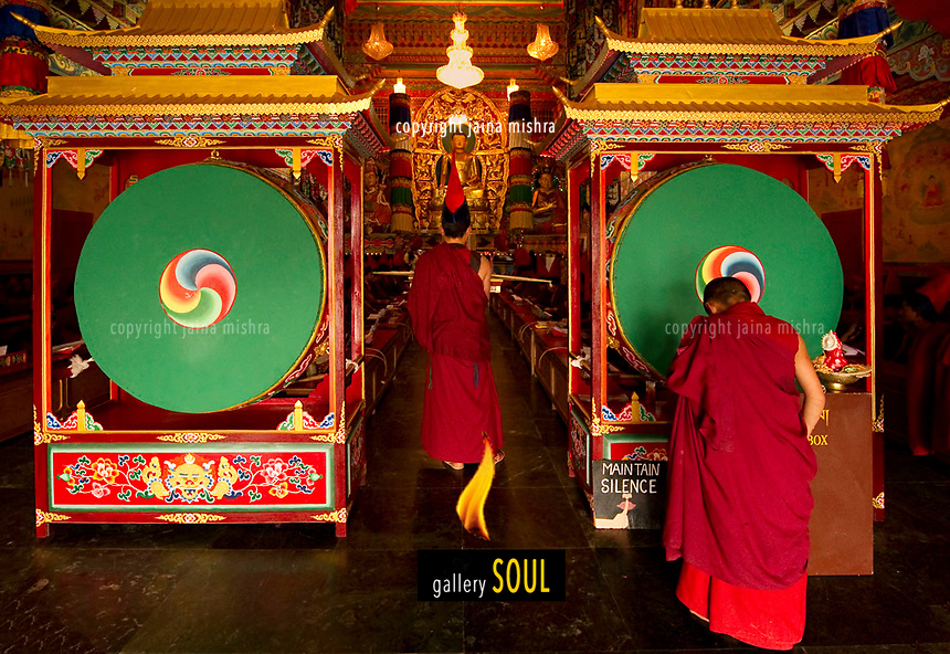 Buddhist Lama Monks in a ritual in a monastery in Sikkim, India