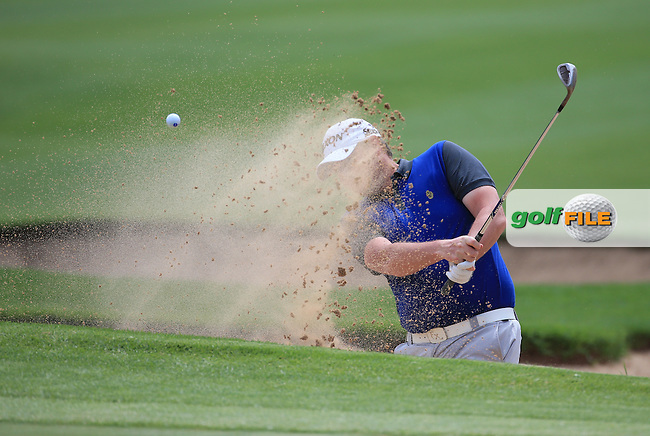 Jamie McLeary (SCO) out of the bunker on the first during Round Three of the 2016 BMW SA Open hosted by City of Ekurhuleni, played at the Glendower Golf Club, Gauteng, Johannesburg, South Africa.  09/01/2016. Picture: Golffile | David Lloyd<br /> <br /> All photos usage must carry mandatory copyright credit (&copy; Golffile | David Lloyd)