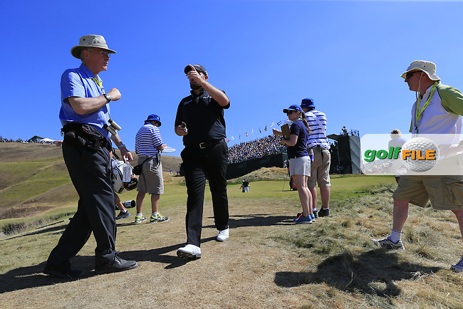 Shane LOWRY (IRL) walks off the 9th green with a birdie during Saturday's Round 3 of the 2015 U.S. Open 115th National Championship held at Chambers Bay, Seattle, Washington, USA. 6/20/2015.<br /> Picture: Golffile | Eoin Clarke<br /> <br /> <br /> <br /> <br /> All photo usage must carry mandatory copyright credit (&copy; Golffile | Eoin Clarke)