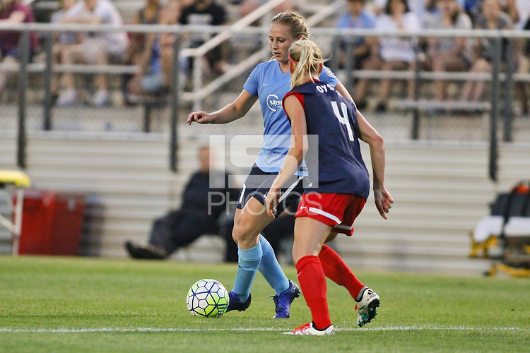 Piscataway, NJ - Saturday July 23, 2016: Leah Galton, Megan Oyster during a regular season National Women's Soccer League (NWSL) match between Sky Blue FC and the Washington Spirit at Yurcak Field.