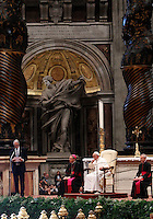 Papa Francesco ascolta il presidente del CONI Giovanni Malago', a sinistra, durante il suo intervento alla messa per gli sportivi in occasione del 100esimo anniversario del CONI, nella Basilica di San Pietro, Citta' del Vaticano, 19 dicembre 2014.<br /> Pope Francis listens to Italian Olympic Committee (CONI) president Giovanni Malago', left, as he speaks during a mass for CONI's 100th anniversary in St. Peter's Basilica at the Vatican, 19 December 2014.<br /> UPDATE IMAGES PRESS/Isabella Bonotto<br /> <br /> STRICTLY ONLY FOR EDITORIAL USE