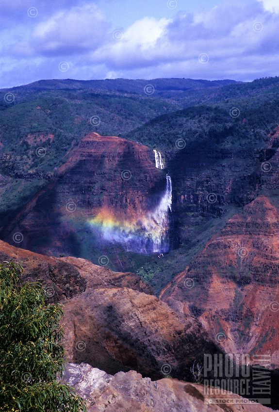 Waipoo falls with rainbow