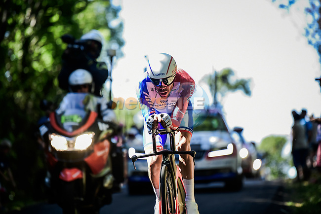 Thibaut Pinot (FRA) Groupama-FDJ after taking a tumble during Stage 13 of the 2019 Tour de France an individual time trial running 27.2km from Pau to Pau, France. 19th July 2019.<br /> Picture: ASO/Pauline Ballet | Cyclefile<br /> All photos usage must carry mandatory copyright credit (© Cyclefile | ASO/Pauline Ballet)