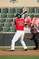 Ethan Gross (18) of the Kannapolis Intimidators at bat against the Delmarva Shorebirds at CMC-Northeast Stadium on June 7, 2015 in Kannapolis, North Carolina.  The Shorebirds defeated the Intimidators 9-1.  (Brian Westerholt/Four Seam Images)