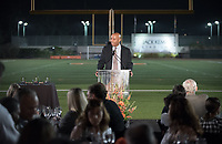 Rob Flot, Vice President for Student Affairs & Dean of Students.<br /> The Occidental community celebrates its student-athletes with the induction of the sixth class into the Occidental College Athletics Hall of Fame during Homecoming and Family Weekend on Friday, Oct. 13, 2017 in Jack Kemp Stadium. The 2017 inductees are Stephen Haas '63 (track and field), the 1982 women's tennis team (NCAA national champions), Blair Slattery '94 (basketball and tennis), and the late Andy Collins '07 (football, track and field).<br /> (Photo by Marc Campos, Occidental College Photographer)