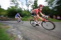 Tim Wellens (BEL/Lotto-Soudal) descending the Col de Chaussy (C1/1533m/14.4km@6.3%)<br /> <br /> stage 19: St-Jean-de-Maurienne - La Toussuire / Les Sybelles   (138km)<br /> Tour de France 2015