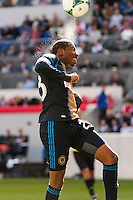 Raymon Gaddis (28) of the Philadelphia Union goes up for a header during the first half against the New York Red Bulls during a Major League Soccer (MLS) match at Red Bull Arena in Harrison, NJ, on March 30, 2013.