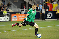 Philadelphia Union goalkeeper Brad Knighton (18). The Los Angeles Galaxy defeated the Philadelphia Union  1-0 during a Major League Soccer (MLS) match at PPL Park in Chester, PA, on October 07, 2010.