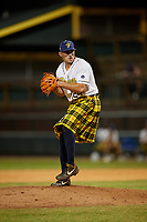 Savannah Bananas pitcher Zachary Cable (24) during a Coastal Plain League game against the Macon Bacon on July 15, 2020 at Grayson Stadium in Savannah, Georgia.  Savannah wore kilts for their St. Patrick's Day in July promotion.  (Mike Janes/Four Seam Images)
