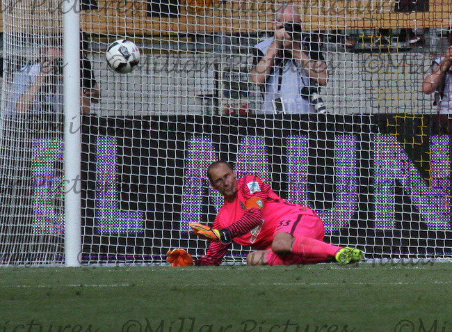 Jaroslav Drobny saves with his knee from Niklas Kreuzer in the penalty shootout in the Dynamo Dresden v Werder Bremen match in the Bundeswehr Karriere Cup Dresden 2016 played at the DDV Stadion, Dresden on 30.7.16.