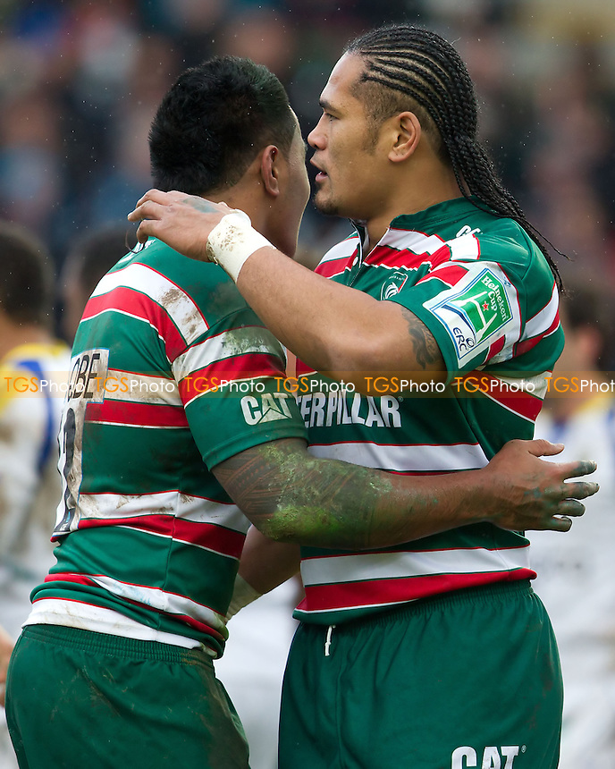 Alesana Tuilagi and Manu Tuilagi of Leicester Tigers RFC celebrate the Tigers opening try - Leicester Tigers RFC vs ASM Clermont - Heineken Cup Pool 4 Rugby at Welford Road Stadium, Leicester - 17/12/11 - MANDATORY CREDIT: Ray Lawrence/TGSPHOTO - Self billing applies where appropriate - 0845 094 6026 - contact@tgsphoto.co.uk - NO UNPAID USE.