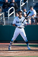 Everett AquaSox second baseman Cesar Izturis Jr. (40) at bat during a Northwest League game against the Tri-City Dust Devils at Everett Memorial Stadium on September 3, 2018 in Everett, Washington. The Everett AquaSox defeated the Tri-City Dust Devils by a score of 8-3. (Zachary Lucy/Four Seam Images)
