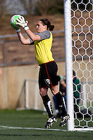 Erin McLeod of the Washington Freedom makes a save during their preseason game at the Maryland SoccerPlex in Germantown, Maryland.