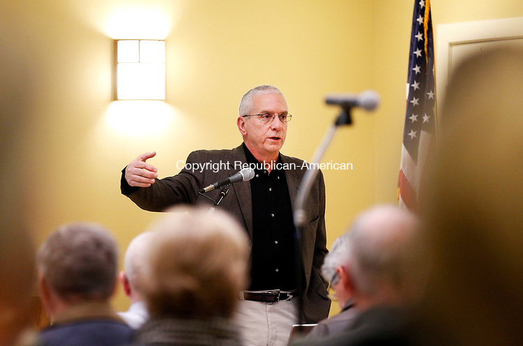 Woodbury, CT- 17 March 2015-031715CM12- Alex DeSorbo, chairman of the Board of Finance for the Town of Woodbury, addresses residents during a meeting at the Senior Community Center on Tuesday. Residents voted to  determine whether to approve a pair of capital plans for roads and equipment totaling $5.6 million.   Christopher Massa Republican-American