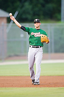 Savannah Sand Gnats shortstop Gavin Cecchini (2) makes a throw to first base against the Kannapolis Intimidators at CMC-Northeast Stadium on June 9, 2014 in Kannapolis, North Carolina.  The Intimidators defeated the Sand Gnats 4-2.  (Brian Westerholt/Four Seam Images)