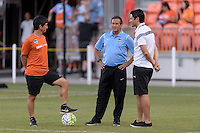 Houston, TX - Sunday June 19, 2016: Hiro Suzuki, Randy Waldrum, Brian Ching prior to a regular season National Women's Soccer League (NWSL) match between the Houston Dash and FC Kansas City at BBVA Compass Stadium.