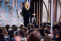 Barbara Streisand presents the Golden Globe award for Best Motion Picture, Drama at the 75th Annual Golden Globe Awards at the Beverly Hilton in Beverly Hills, CA on Sunday, January 7, 2018.<br /> *Editorial Use Only*<br /> CAP/PLF/HFPA<br /> &copy;HFPA/PLF/Capital Pictures