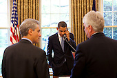 Washington, DC - May 1, 2009 -- United States President Barack Obama talks with Supreme Court Justice David Souter during an Oval Office phone all Friday afternoon, May 1, 2009.  At left is Chief of Staff Rahm Emanuel and right is White House Counsel Gregory Craig. .Mandatory Credit: Pete Souza - White House via CNP