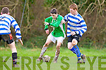 Tommy Feehan Castleisland tries to turn Patrick McCarthy QPR during their league clash in Castleisland on Sunday