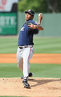 Pitcher Ernesto Silva (45) of the Rome Braves, an Atlanta Braves affiliate, in a game against the Greenville Drive on May 6, 2012, at Fluor Field at the West End in Greenville, South Carolina. Greenville won, 11-3. (Tom Priddy/Four Seam Images)