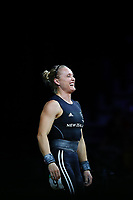 Andrea Hams of New Zealand reacts after failing her attempt in Clean & Jerk during the Women's 69kg Final. Gold Coast 2018 Commonwealth Games, Weightlifting, Gold Coast, Australia. 8 April 2018 © Copyright Photo: Anthony Au-Yeung / www.photosport.nz