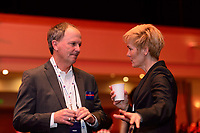 Philadelphia, PA - Thursday January 18, 2018: Anson Dorrance, Vera Pauw during the 2018 NWSL College Draft at the Pennsylvania Convention Center.